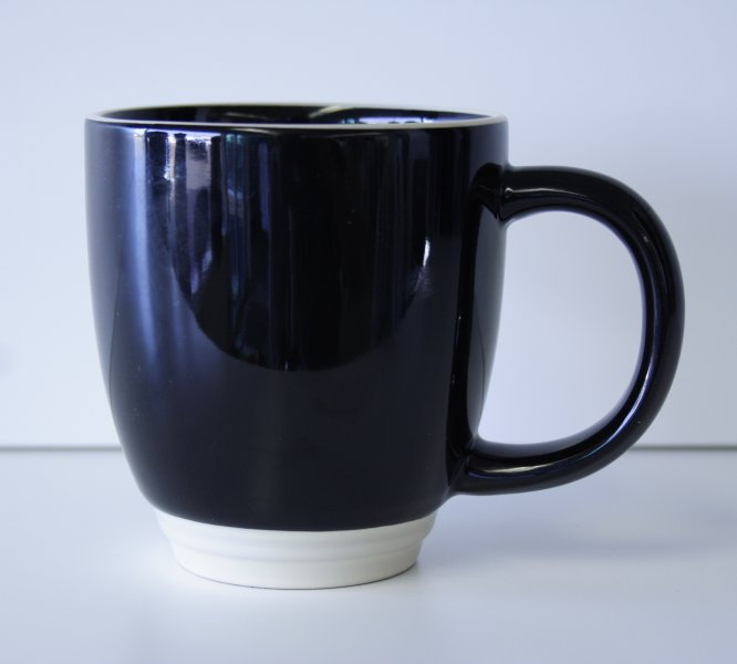 15 oz Black/Ivory Green Bistro Mug