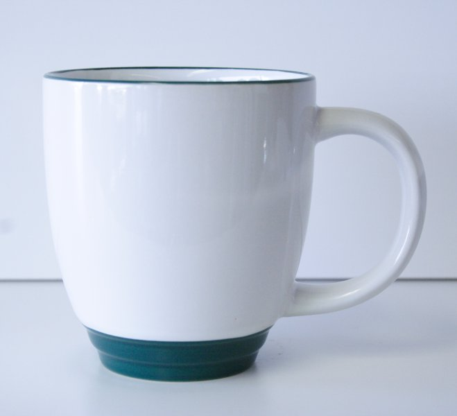 15 oz White/Dark Green Blue Bistro Mug